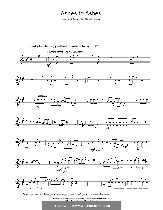 Ashes to Ashes: para Saxofone Alto by David Bowie