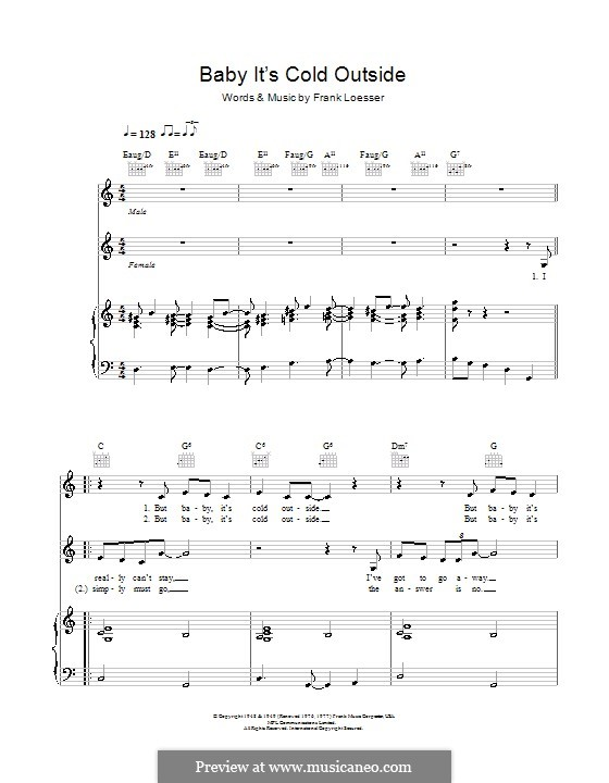 Baby, it's Cold Outside: Para vocais e piano by Frank Loesser