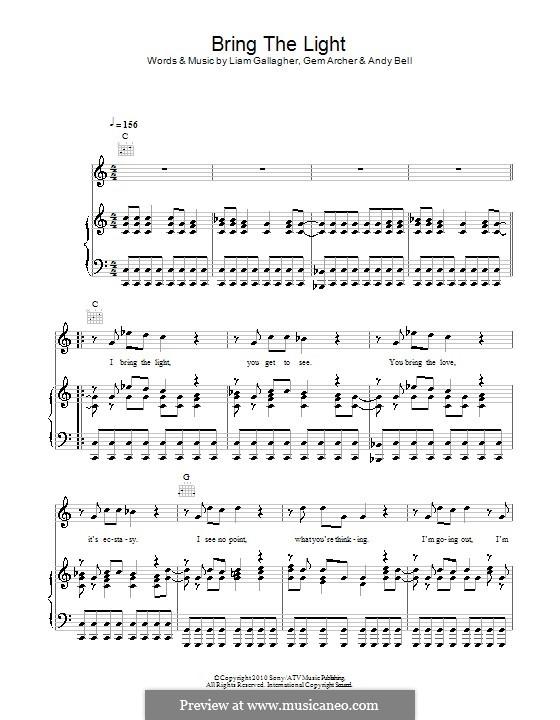 Bring the Light (Beady Eye): Para vocais e piano (ou Guitarra) by Andy Bell, Gem Archer, Liam Gallagher