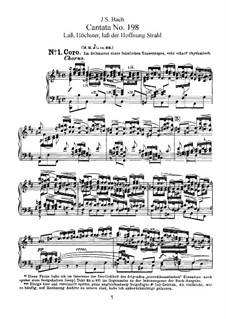 Lass, Fürstin, lass noch einen Strahl, BWV 198: Partitura piano-vocal by Johann Sebastian Bach