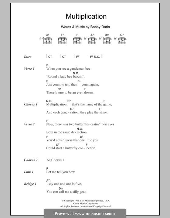 Multiplication: Letras e Acordes by Bobby Darin