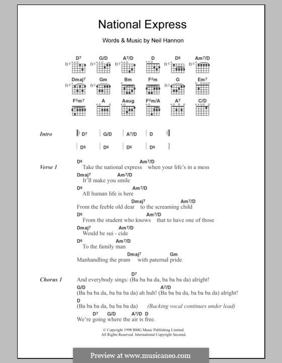 National Express (The Divine Comedy): Letras e Acordes by Neil Hannon