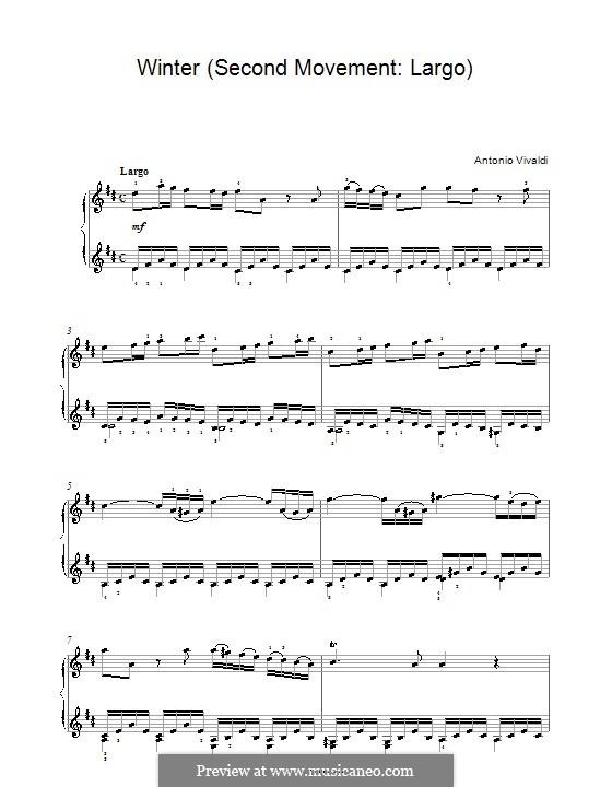 Violin Concerto No.4 in F Minor 'L'inverno', RV 297: Movement II. Arrangement for piano (high quality sheet music) by Antonio Vivaldi