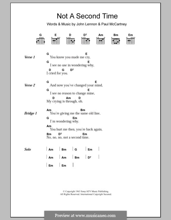 Not a Second Time (The Beatles): Letras e Acordes by John Lennon, Paul McCartney