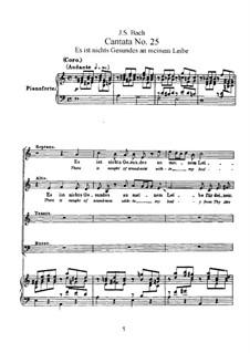Es ist nichts Gesundes an meinem Leibe, BWV 25: arranjos para vozes e piano by Johann Sebastian Bach