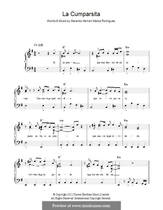 La Cumparsita: Facil para o piano by Gerardo Hernan Matos Rodriguez