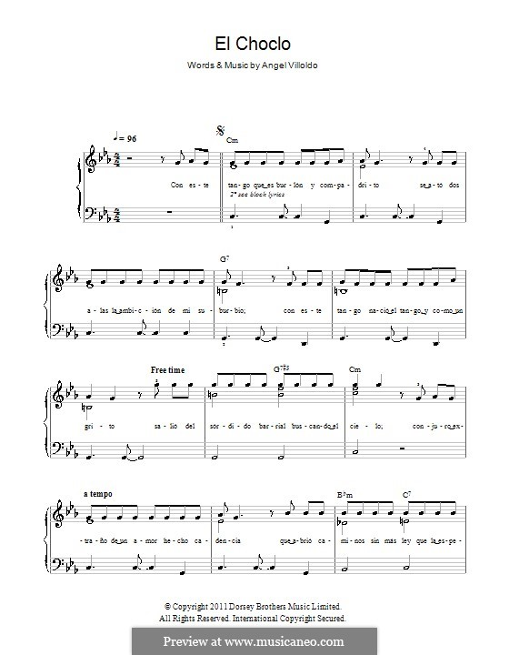 El Choclo: Facil para o piano by Ángel Gregorio Villoldo