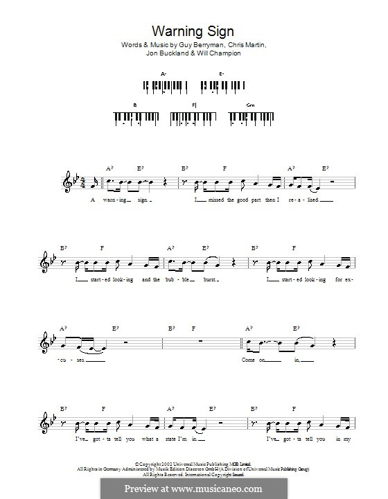 Warning Sign (Coldplay): teclado by Chris Martin, Guy Berryman, Jonny Buckland, Will Champion