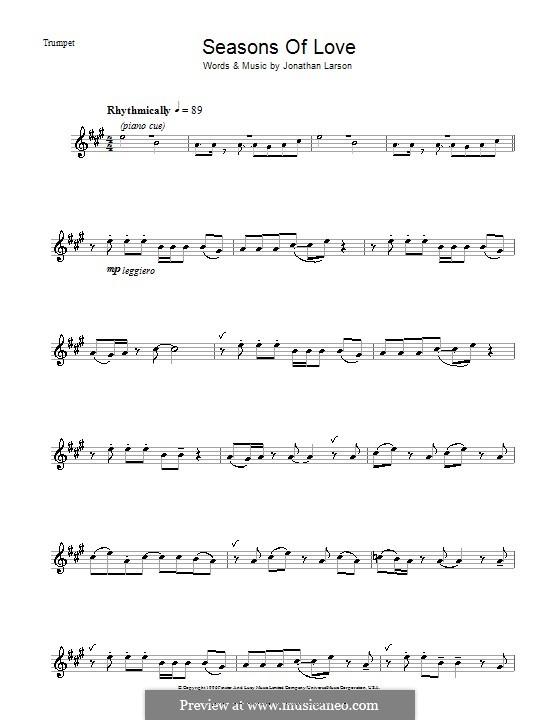 Seasons of Love (from Rent): para trompeta by Jonathan Larson