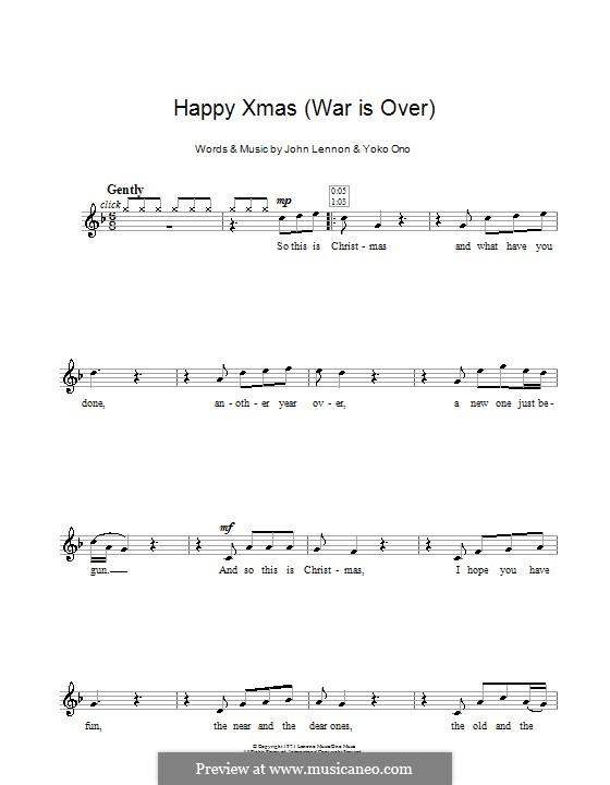Happy Xmas (War Is Over): para gravar by John Lennon, Yoko Ono