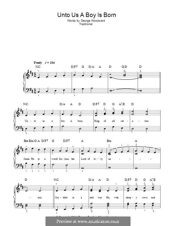 Unto Us a Boy Is Born: Facil para o piano by folklore