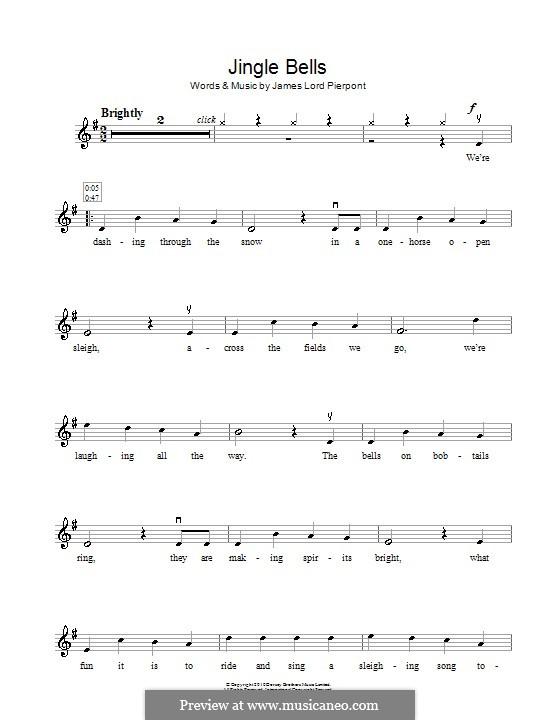 Jingle Bells (Printable scores): para violino by James Lord Pierpont