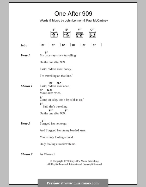 One After 909 (The Beatles): Letras e Acordes by John Lennon, Paul McCartney