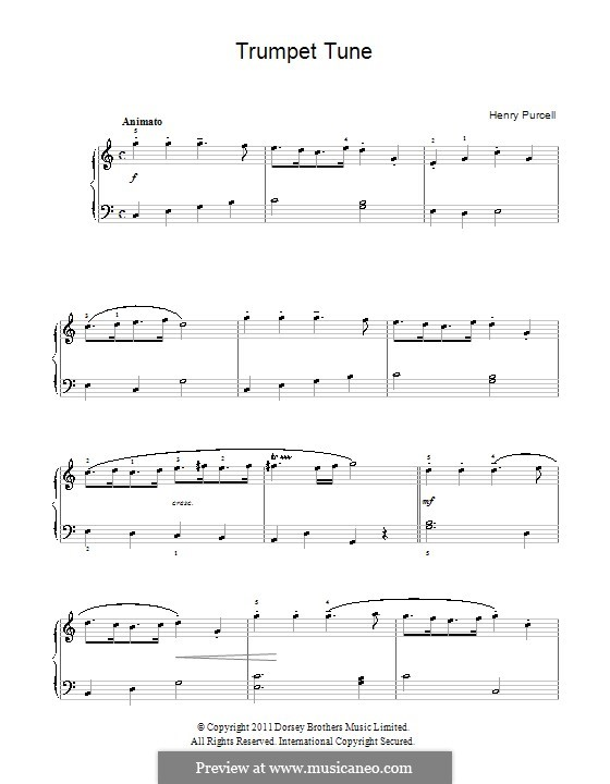 Trumpet tune and Air: Para Piano by Henry Purcell