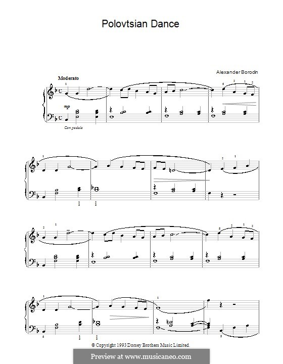 Polovtsian Dances: For easy piano (fragment) by Alexander Borodin