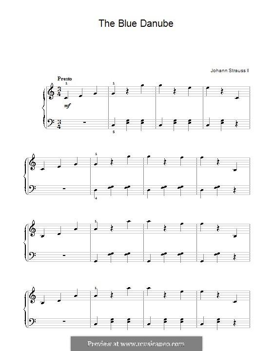 On the Beautiful Blue Danube, for Piano, Op.314: versão facil para piano (C maior) by Johann Strauss (Sohn)