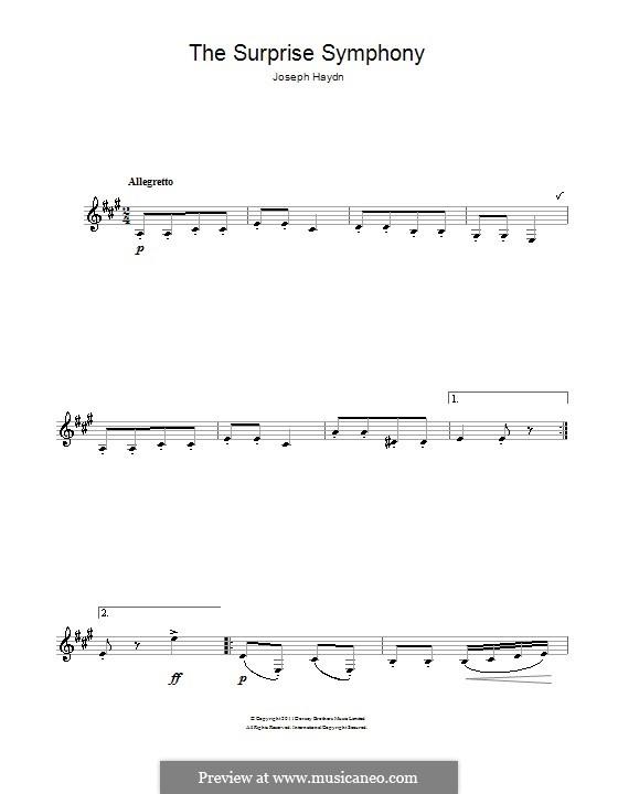 Movement II: Theme. Version for clarinet by Joseph Haydn