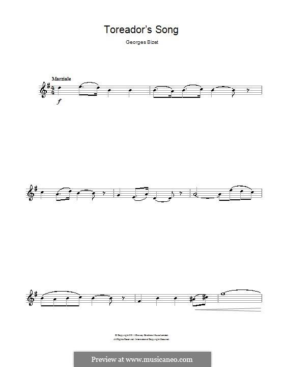 Toreador's Song: para flauta by Georges Bizet