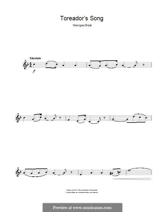 Toreador's Song: para clarinete by Georges Bizet