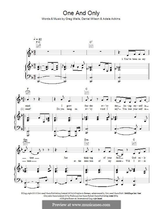 One and Only: Para vocais e piano (ou Guitarra) by Adele, Daniel Wilson, Greg Wells