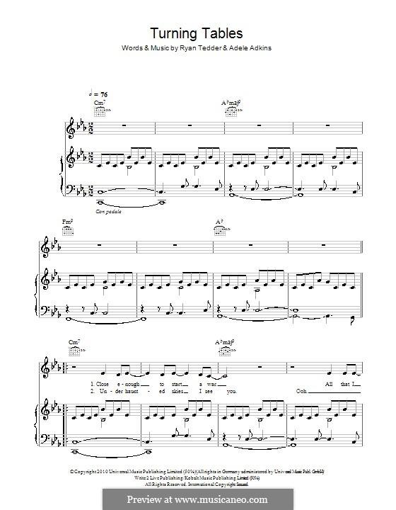 Turning Tables: Para vocais e piano (ou Guitarra) by Adele, Ryan B Tedder