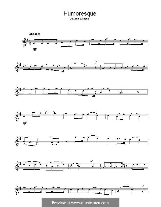Humoresques, B.187 Op.101: No.7, for flute by Antonín Dvořák