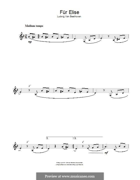 For Elise, WoO 59: para clarinete by Ludwig van Beethoven