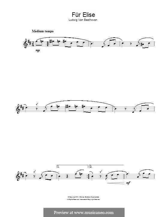 For Elise (Printable Scores): para Saxofone Alto by Ludwig van Beethoven