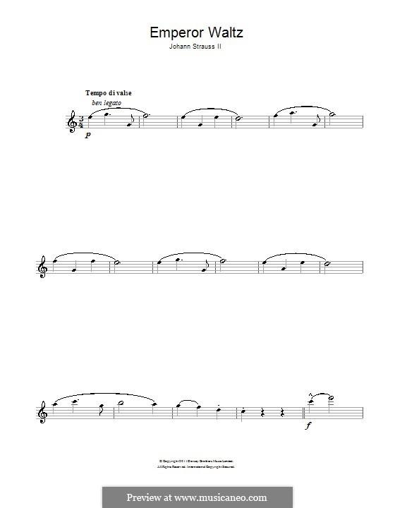 Emperor Waltz, Op.437: para flauta by Johann Strauss (Sohn)