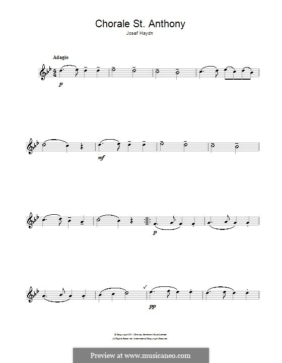 Variations on a Theme by Haydn, Op.56a: Theme. Version for flute by Johannes Brahms