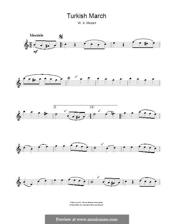 Rondo alla turca: para flauta by Wolfgang Amadeus Mozart