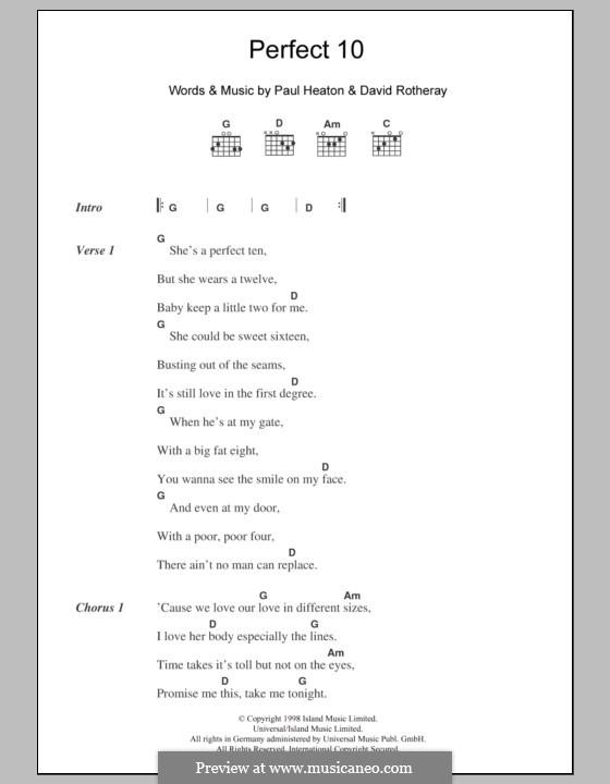 Perfect 10 (The Beautiful South): Letras e Acordes by David Rotheray, Paul Heaton