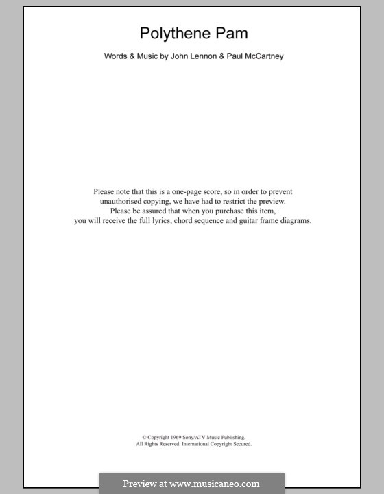 Polythene Pam (The Beatles): Letras e Acordes by John Lennon, Paul McCartney
