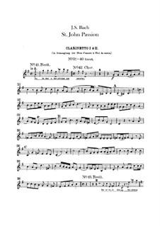 St John Passion, BWV 245: parte clarinetes by Johann Sebastian Bach