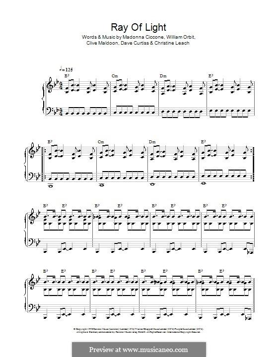 Ray of Light: Para vocais e piano (ou Guitarra) by Madonna, Christine Leach, Clive Maldoon, Dave Curtiss, William Orbit