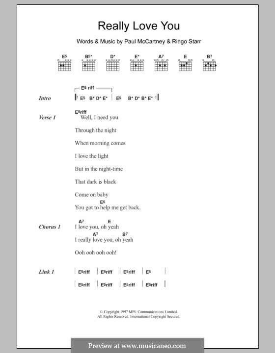 Really Love You: Letras e Acordes by Paul McCartney, Ringo Starr