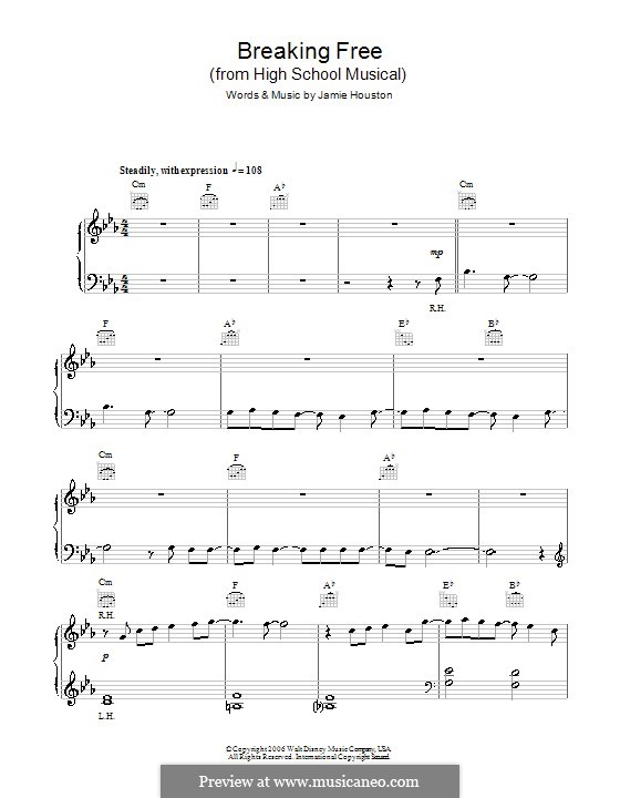 Breaking Free (from High School Musical): Facil para o piano by Jamie Houston