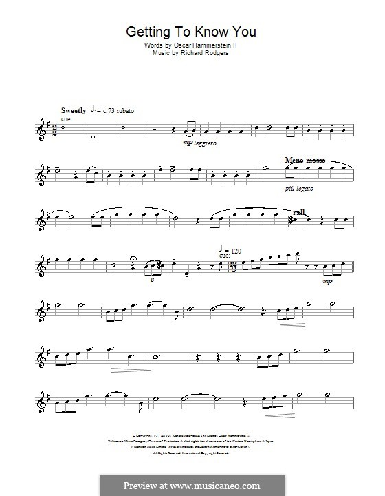 Getting to Know You (from The King and I): para Saxofone Alto by Richard Rodgers