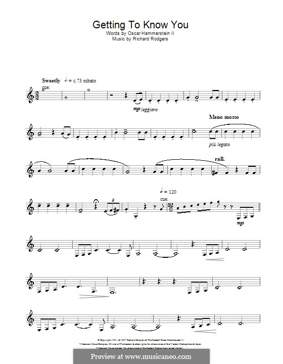 Getting to Know You (from The King and I): para clarinete by Richard Rodgers