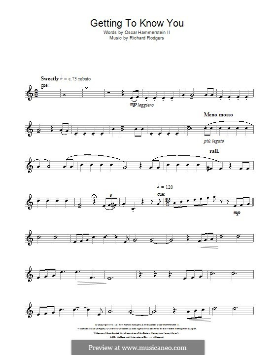 Getting to Know You (from The King and I): para saxofone tenor by Richard Rodgers