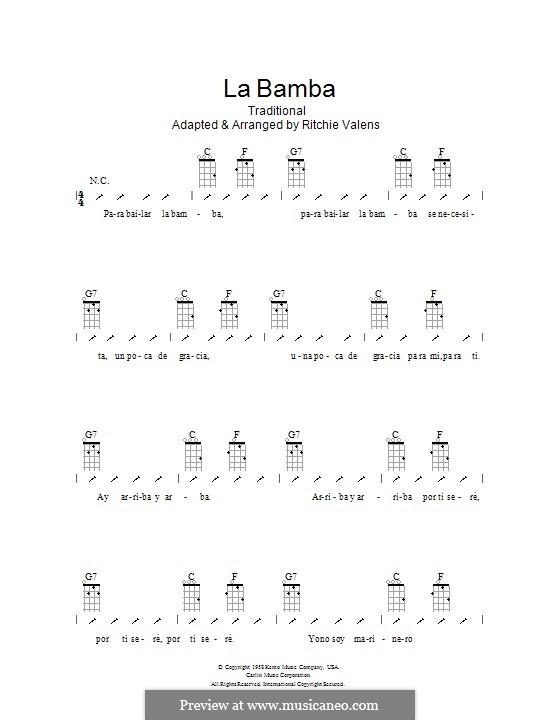 La Bamba: ukulele com parte dedilhada by folklore, Ritchie Valens