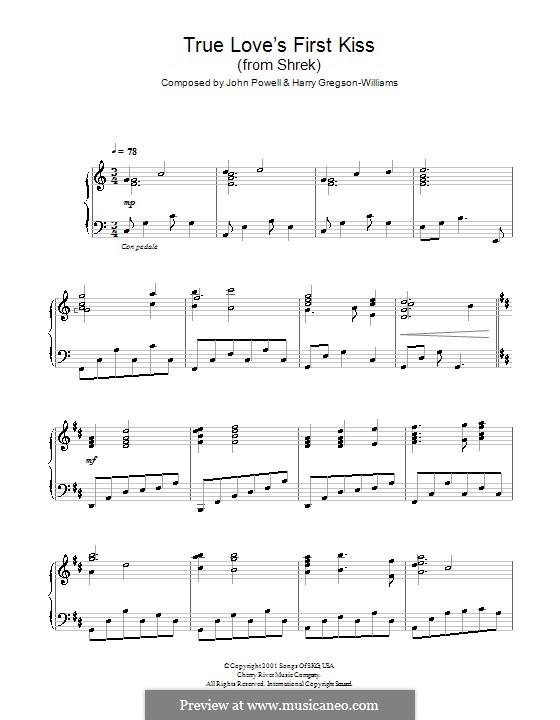 True Love's First Kiss (from Shrek): Para Piano by Harry Gregson-Williams, John Powell