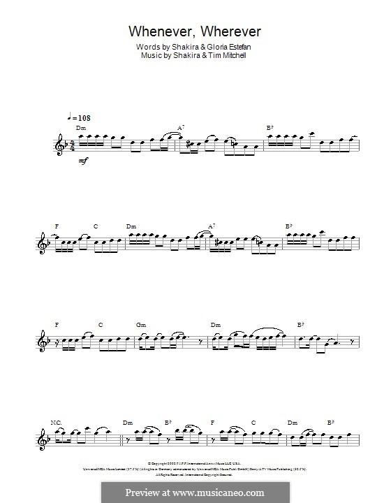 Whenever, Wherever: para flauta by Shakira, Tim Mitchell
