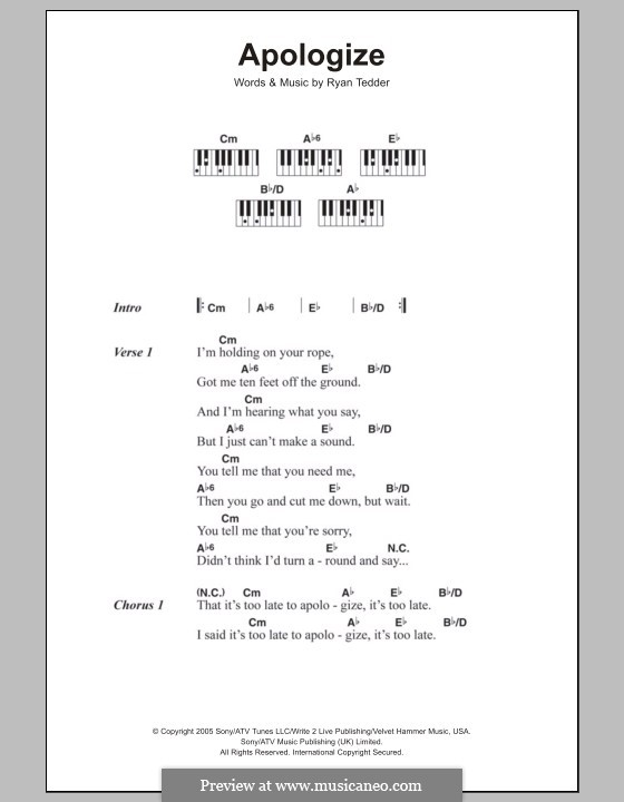 Apologize (OneRepublic): Letras e Acordes by Ryan B Tedder
