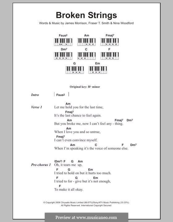 Broken Strings (James Morrison feat. Nelly Furtado): letras e acordes para piano by Fraser T. Smith, James Morrison, Nina Woodford