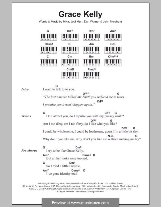 Grace Kelly: letras e acordes para piano by Mika, Dan Warner, Jodi Marr, John Merchant