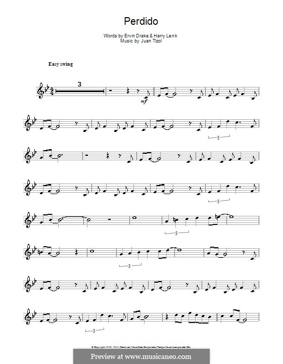 Perdido (Duke Ellington): para Saxofone Alto by Juan Tizol