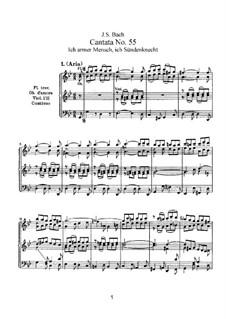 Ich armer Mensch, ich Sündenknecht, BWV 55: Partitura piano-vocal by Johann Sebastian Bach