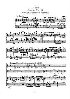 Ach Gott, wie manches Herzeleid, BWV 58: Partitura piano-vocal by Johann Sebastian Bach