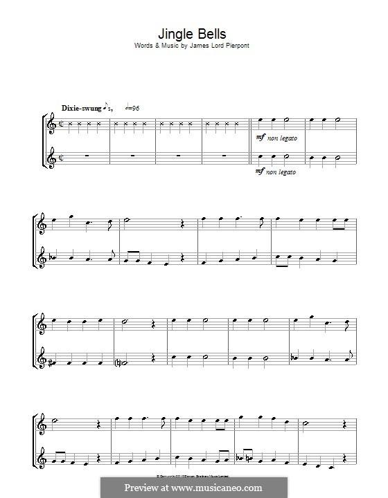 Jingle Bells (Printable scores): para saxofone tenor by James Lord Pierpont